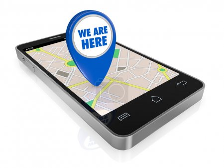 Photo pour One smartphone with a gps map and a pointer with text: we are here (3d render) - image libre de droit