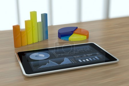 Photo for One tablet pc with stock market app and financial charts (3d render) - Royalty Free Image