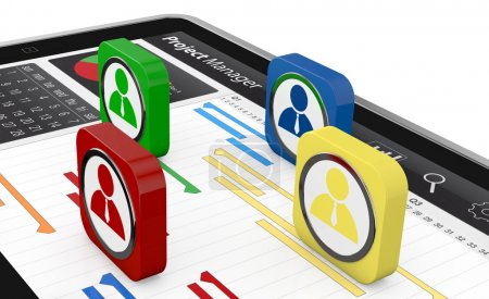 Photo for One tablet pc with a gantt chart and businessman icons (3d render) - Royalty Free Image