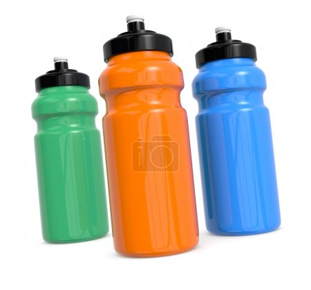 Photo for Three reusable water bottles on white (3d render) - Royalty Free Image