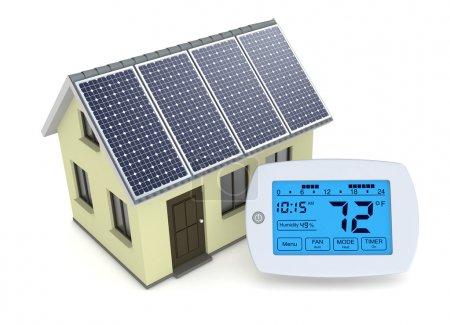 Photo pour Un thermostat programmable numérique avec une maison et un panneau solaire, concept d'énergie renouvelable (rendu 3d) - image libre de droit