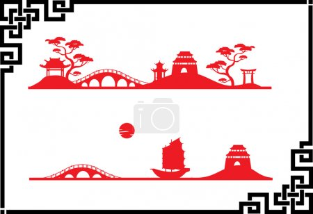Illustration for Two abstract Asian Landscape - Royalty Free Image