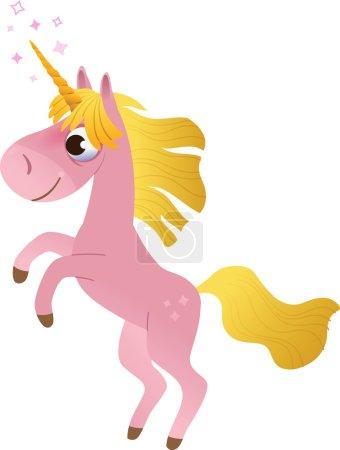 Cartoon unicorn rearing up