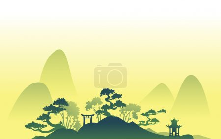 Illustration for Abstract asian Landscape with trees and hills - Royalty Free Image