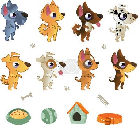 Set of cartoon dog breeds...