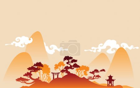 Illustration for Chines landscape - Royalty Free Image