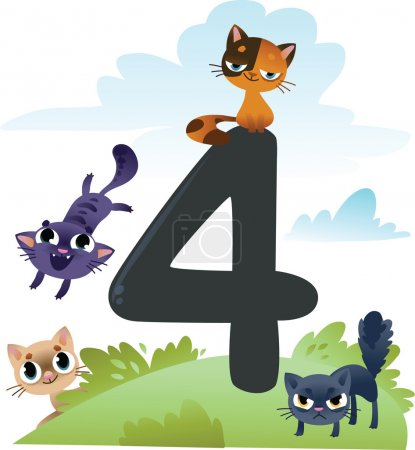 Collection number for kids: farm animals - number 4, cats