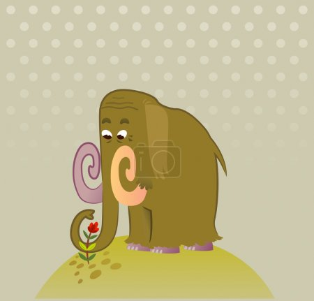Illustration of Cartoon Mammoth with flower