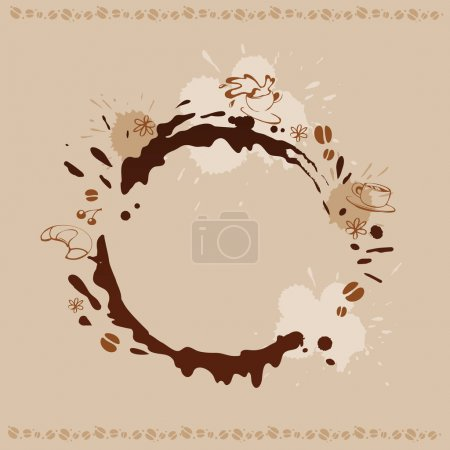 Illustration for Abstract Background with Cup, Beans and Coffee Stain - Royalty Free Image