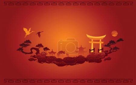 Illustration for Abstract illustration of Chinese Background - Royalty Free Image
