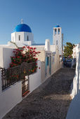 Narrow street in Mykonos island Greece Cyclades
