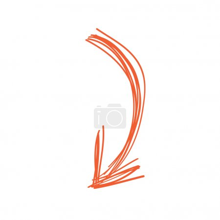 Curved arrow doodle in orange color