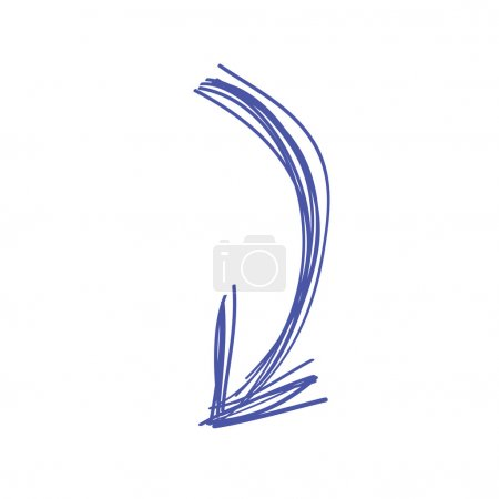 Curved arrow doodle in blue