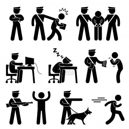 Illustration pour Un ensemble de pictogrammes représentant un garde de sécurité / policier et un voleur . - image libre de droit