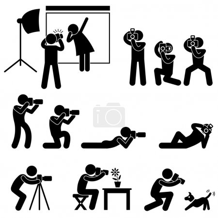 Photographer Cameraman Paparazzi Pose Posing Icon Symbol Sign Pictogram