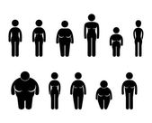 A set of pictograms representing woman body sizes in pictogram