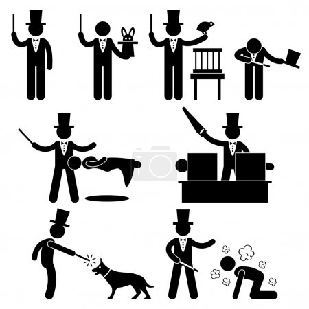 Illustration pour Un ensemble de pictogrammes représentant un magicien faisant de la magie . - image libre de droit