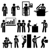 A set of pictograms representing the workplace scenario