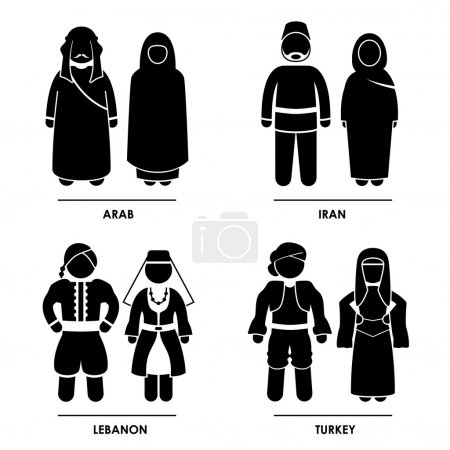 Illustration for A set of pictograms representing clothing from Arab, Iran, Lebanon, and Turkey. - Royalty Free Image