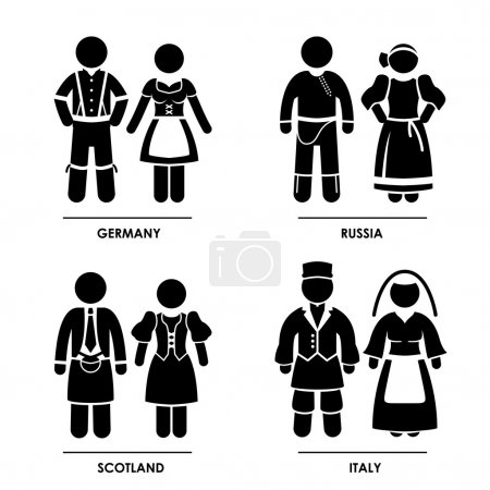 Illustration for A set of pictograms representing clothing from Germany, Russia, Scotland, and Italy. - Royalty Free Image
