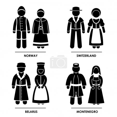 Illustration for A set of pictograms representing clothing from Norway, Switzerland, Belarus, and Montenegro. - Royalty Free Image