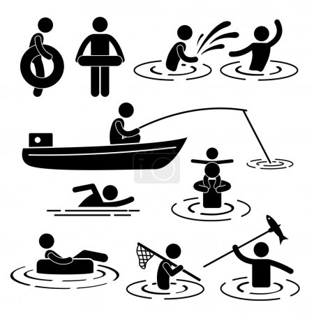 Children Leisure Swimming Fishing Playing at River Water Stick Figure Pictogram Icon