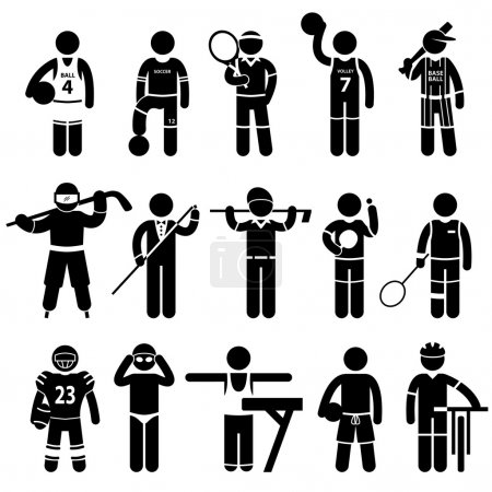 Photo for A set of pictogram representing sports attire for basketball, soccer, tennis, volleyball, baseball, ice hockey, snooker, golf, ping pong, badminton, american football, swimming, gymnastic, beach volleyball, and cycling. - Royalty Free Image
