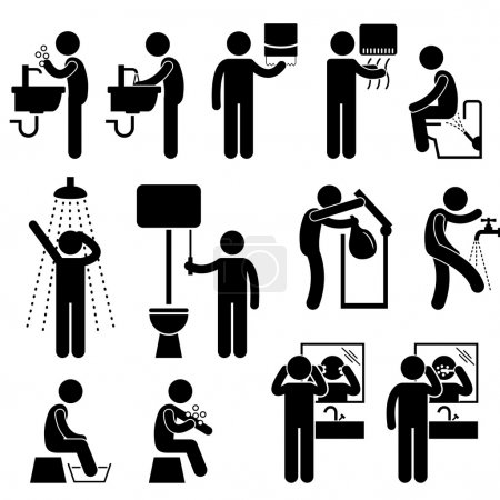 Illustration for A set of pictograms representing the personal hygiene acts in toilet, such as washing hand, face, backside, leg, and more. - Royalty Free Image