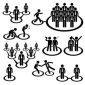 A set of pictogram representing the connection and relationship between businessman and workers