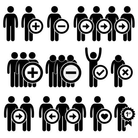 Illustration pour Un ensemble de pictogrammes représentant les ressources humaines dans le monde des affaires . - image libre de droit