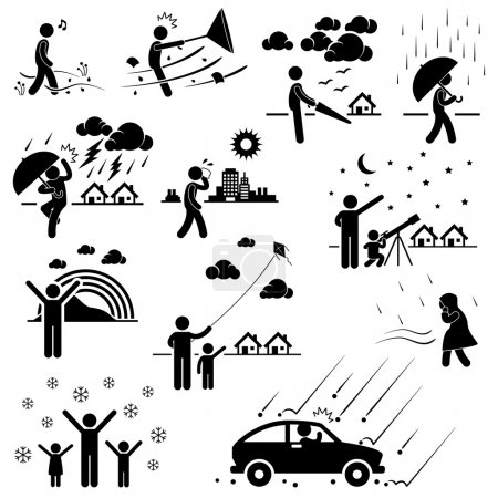 Illustration for A set of pictograms representing various weather and climate with - Royalty Free Image