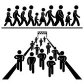 A set of pictograms representing marching running and walking in community event