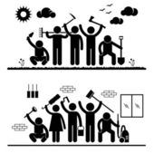 Community Effort Humanity Volunteer Group Cleaning Outdoor Park Indoor House Stick Figure Pictogram Icon