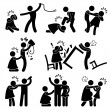 A set of pictograms representing woman wife being abused by man husband.