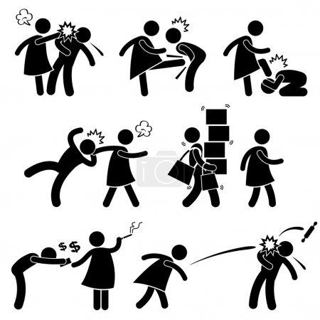 Abusive Wife Girlfriend Weak Husband Boyfriend Stick Figure Pictogram Icon