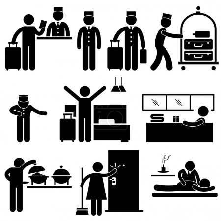 Illustration for A set of pictograms representing hotel services, receptionist, bellboy, housekeeper, cleaner, and visitor. - Royalty Free Image