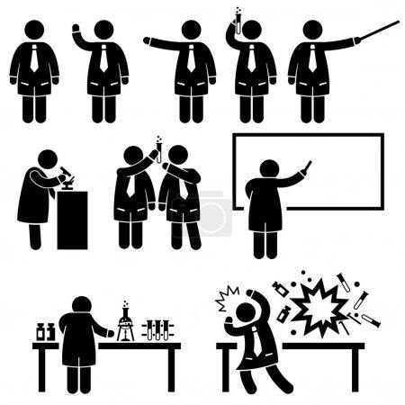 Scientist Professor Science Lab Pictograms