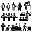 A set of pictograms representing working in a fact...