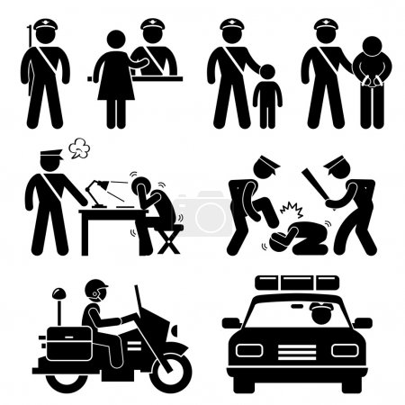 Illustration pour Un ensemble de pictogrammes représentant le scénario du poste de police . - image libre de droit