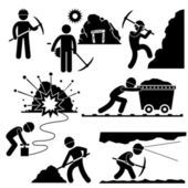 A set of pictograms representing mining worker working hard in the mining area