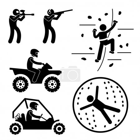 Extreme Tough Game for Man Paintball Clay Shooting Rock Climbing Quad Biking Zorb Ball Sport Stick Figure Pictogram Icon