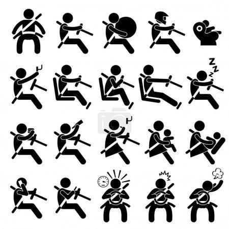 Illustration pour Un ensemble de pictogrammes de chiffres de bâton représentant le guide de sécurité de conduite pour voiture . - image libre de droit