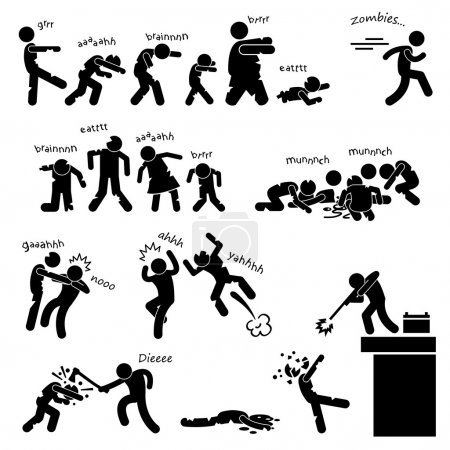 Illustration for A set of stick figure pictograms representing zombie outbreak and attacking and heroes defending the invasion. - Royalty Free Image