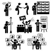 A set of stick figure pictograms representing different methods of marketing and advertisement strategies