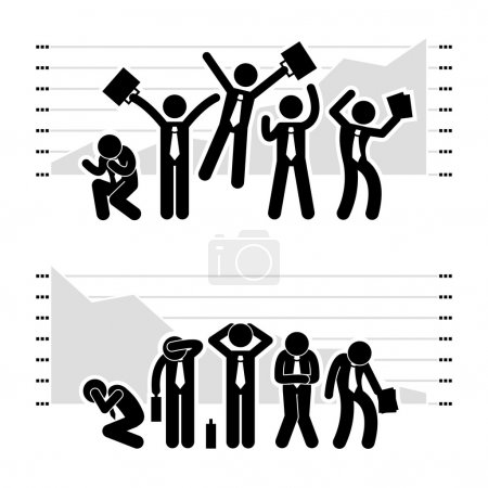 Businessman Business Winning Losing in Stock Market Graph Chart Stick Figure Pictogram Icon