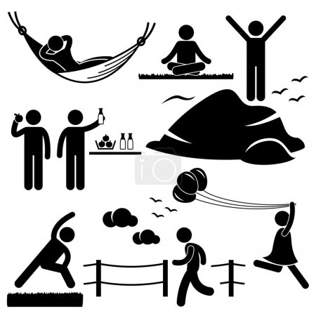 Man Woman Healthy Living Relaxing Wellness Lifestyle Stick Figure Pictogram Icon