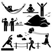 A set of stick figure pictograms representing healthy lifestyle activities