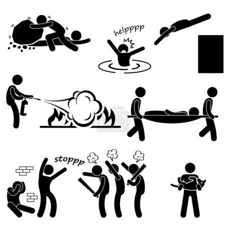 Illustration pour Un ensemble de pictogrammes représentant des hommes sauvant et sauvant des vies humaines . - image libre de droit