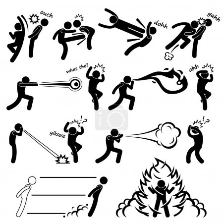 Illustration for A set of stick figure pictograms representing super human power with their fighting abilities. - Royalty Free Image