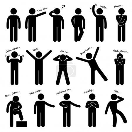 A set of stick figure pictograms representing man basic posture and gesture.